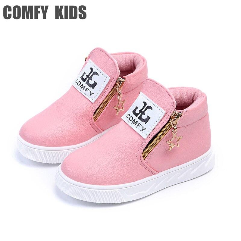 2018 mode casual filles en cuir bottes sneakers chaussures pour enfant en  cuir sneakers bottes chaussures 1dec3b738a13