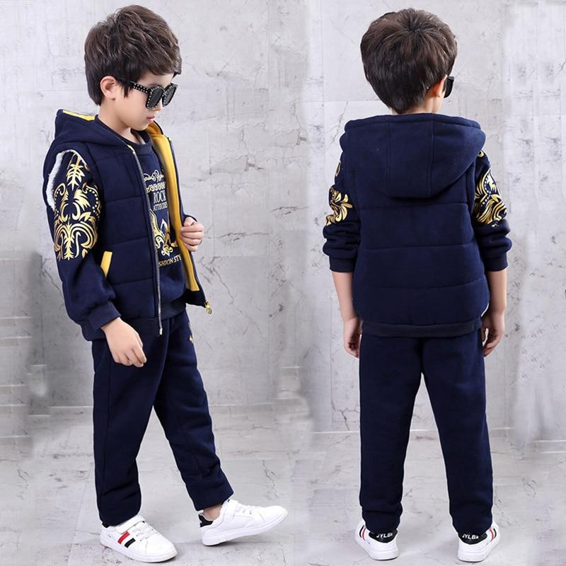 3 pcs/ set Sweatshirt + coat + Pants boys clothes kids suits winter  super warm fleece Children Clothes Sets-in Clothing Sets from Mother & Kids    1