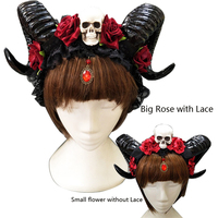 Demon Horns Headpiece Devil Floral Horns Headpieces Halloween Skull Accessories with Veil Fancy Dress Hair Accessories