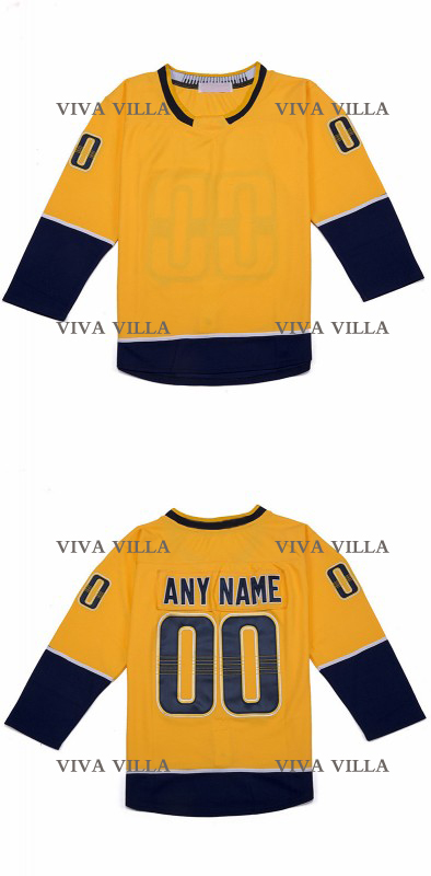 цена на Hockey Custom Jersey Any Name Any Number Hockey Jerseys High Quality Stitched Logos Yellow White S-4XL Free Shipping