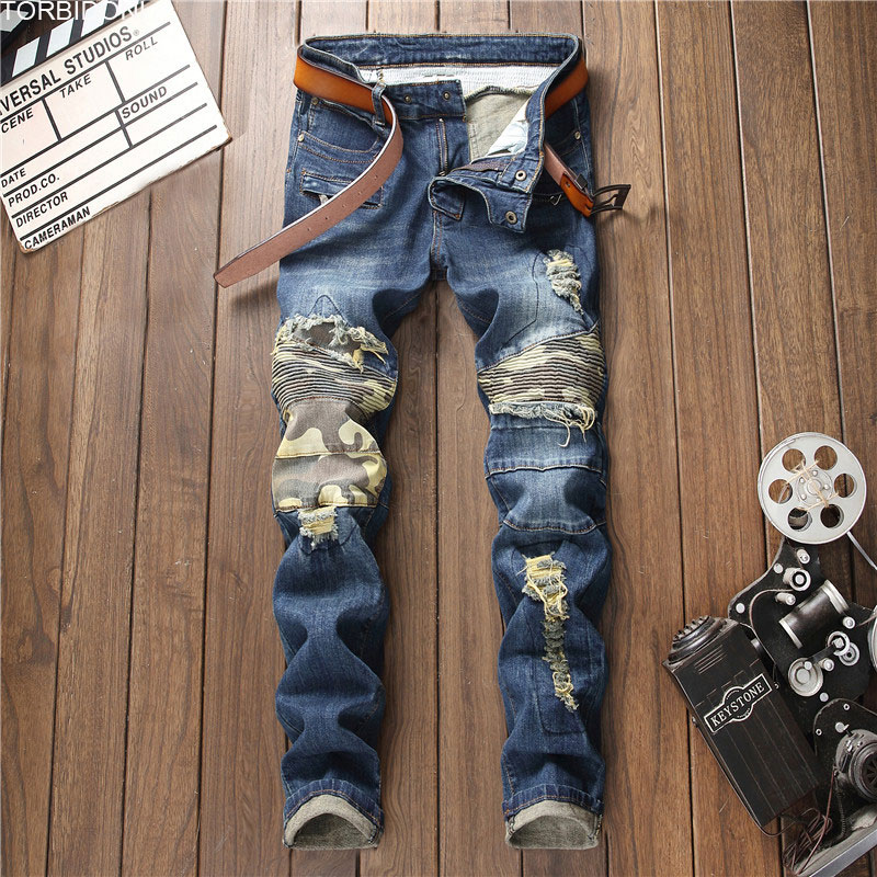 Fashion Patchwork Hole Jeans Men Slim Camouflage Denim Jeans Autumn Skinny Frayed Night Club Pants Distressed Hip Hop Troursers