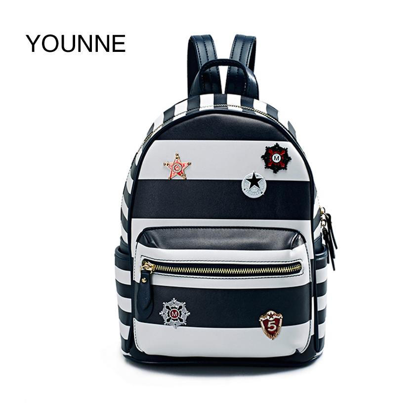 YOUNNE Women Striped Backpack Female Hight Quality Casual Shoulder Bag Teenage Backpacks Girl Naval pattern Fashion Daily Bags 2017 new girl backpack mini high quality girl student casual female bags woman shoulder bag backpacks fashion female bag