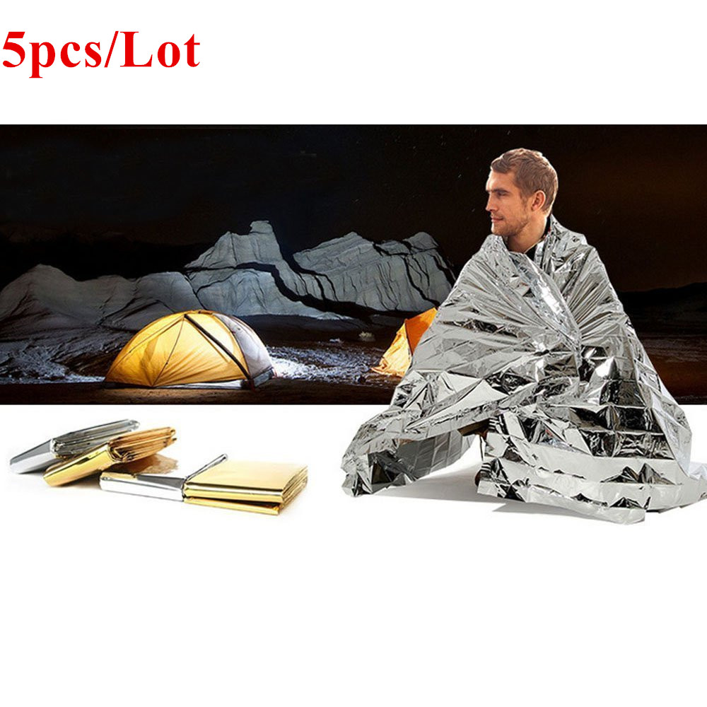 5pcs/lot First Aid Emergency Blanket Foil Reflective Thermal Suitable For Camping Earthquake Keep Warm Rescue Reflection Blanket