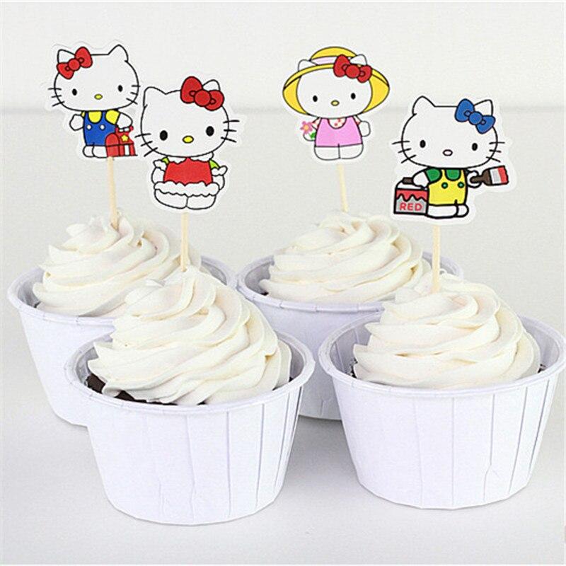 Enjoyable 24Pcs Set Hello Kitty 1St Birthday Party Favors Decorations For Personalised Birthday Cards Veneteletsinfo