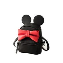 2016 Trendy New Mickey Small Backpack Women Cute Cartoon Zipper Hand-held Bag Designer Big Bowknot Ladies PU Casual Daypack