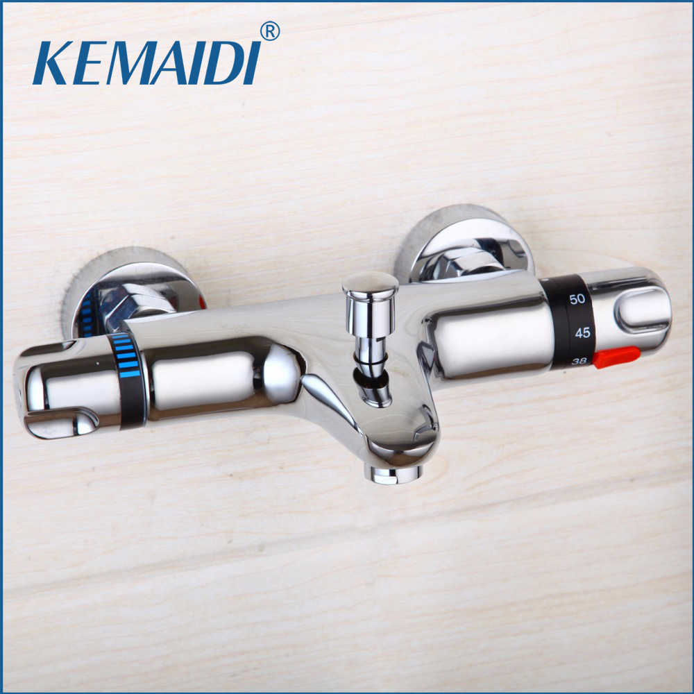 KEMAIDI Thermostatic Shower Faucet Wall Mounted Double Handle Faucet Spout Filler Diverter Chrome Bathtub Valve Faucet Mixer Tap