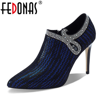 FEDONAS 2020 Quality Women Genuine Leather Pointed Toe Thin High Heels Pumps Side Zipper Crystal Party Prom Dancing Shoes Woman