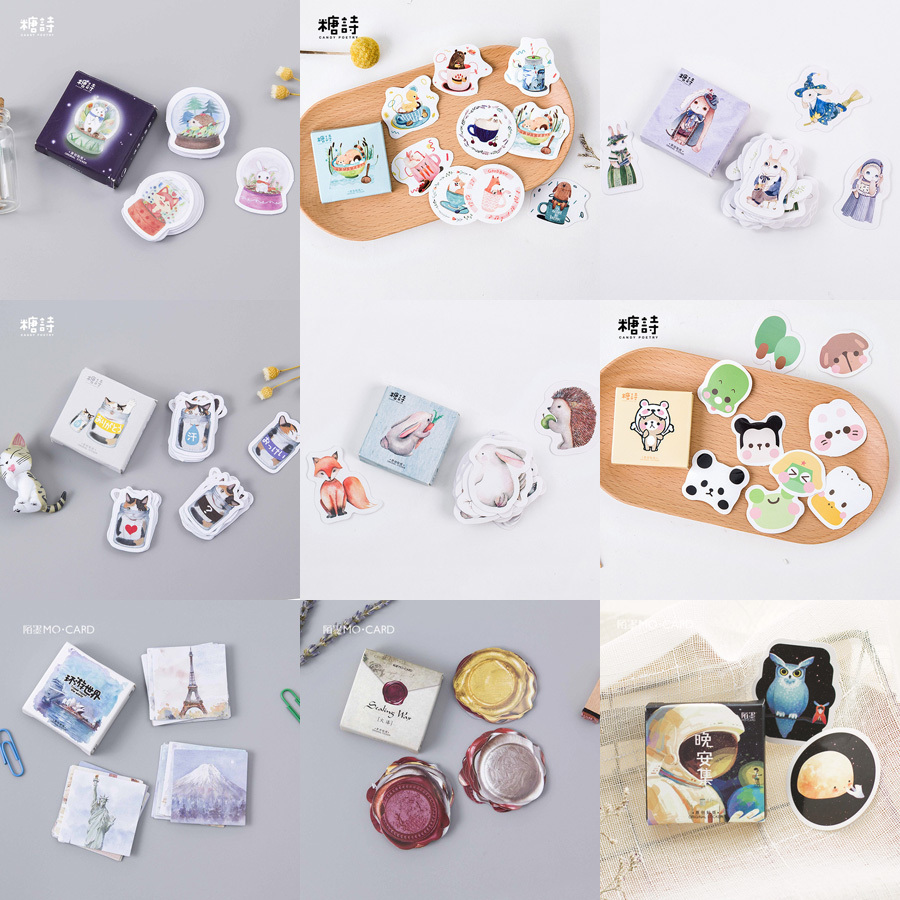 45PCS/box Cute Cartoon My Little World Paper Sticker Decoration Decal DIY Album Scrapbooking Seal Sticker Kawaii Stationery Gift