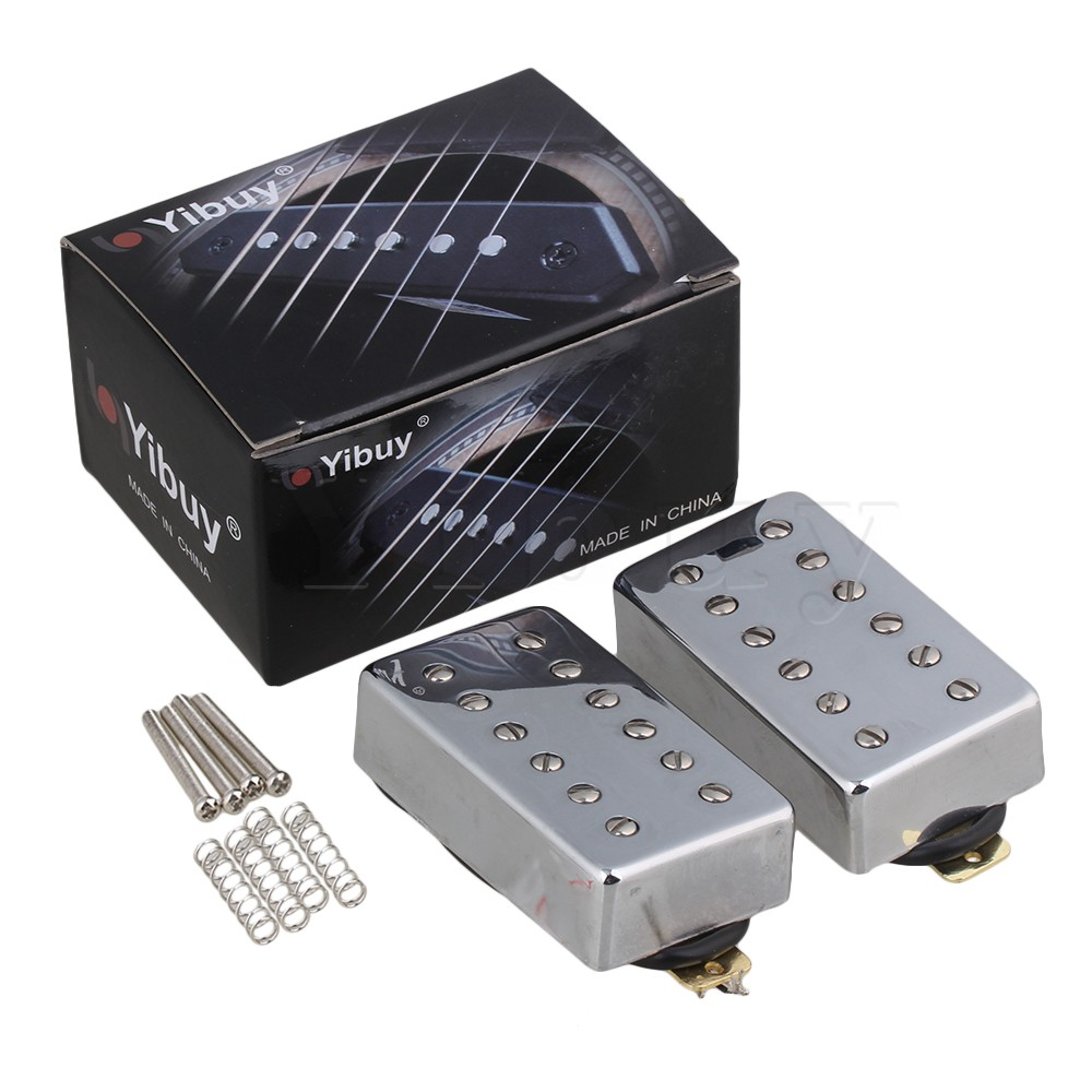 Yibuy Silver 69 x 38 x 18mm Humbucker N/B Pickups Set for Electric Guitar 1 set of 2 one black one yellow humbucker double coil electric guitar pickups