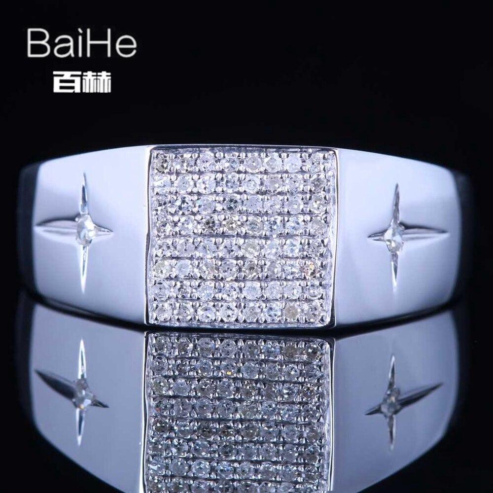 BAIHE стерлингового серебра 925 0.3CT Certified H/SI круглая огранка 100% из натуральной Алмазы обручальные Для мужчин модные ювелирные изделия кольцо
