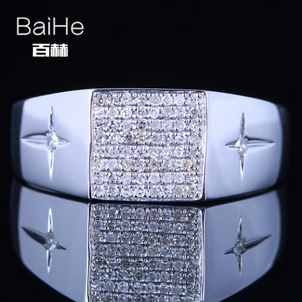 BAIHE Sterling Silver 925 0.3CT Certified H/SI Round Cut 100% Genuine Natural Diamonds Engagement Men Trendy Fine Jewelry Ring цена