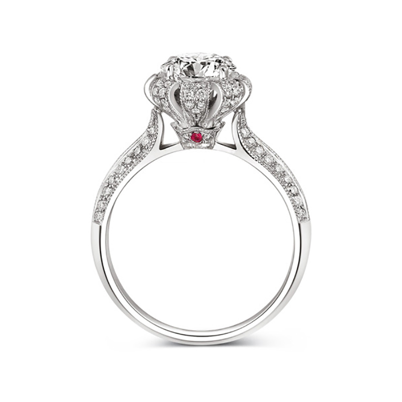 Princess Crown Victoria Wieck Cushion Cut CZ Ring For Women Red Stone Inlaid Luxury Engagement Wedding Jewelry