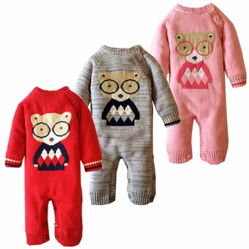 High-quality new autumn and winter cotton baby clothes plus velvet baby conjoined children's sweaters climb clothes фото
