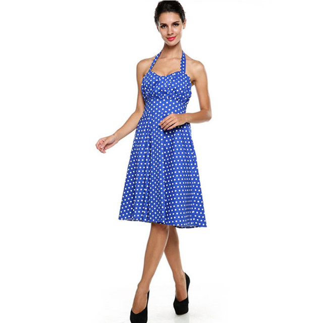 85f33454edd2 ACEVOG Brand Women Dot Dress Summer Vintage Big Swing Sleeveless Halter  Neck Knee Length Midi Slim Waisted Party Dress Vestidos