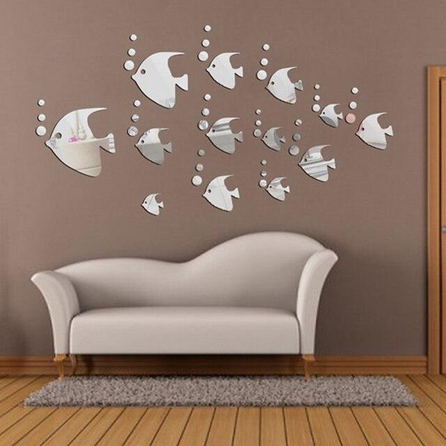 13 sztuk moda srebrny tropikalnych ryb naklejki ścienne akrylowe lustro naklejki ścienne domu dekoracyjne akcesoria