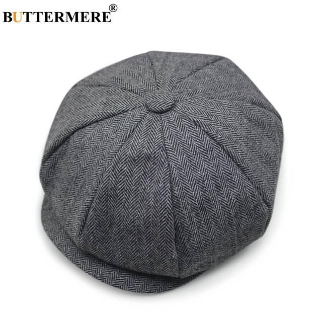 placeholder BUTTERMERE Black Wool Cap Men Herringbone Newsboy Cap Vintage  Tweed Flat Caps Striped Winter Spring Male cd91b22649b8