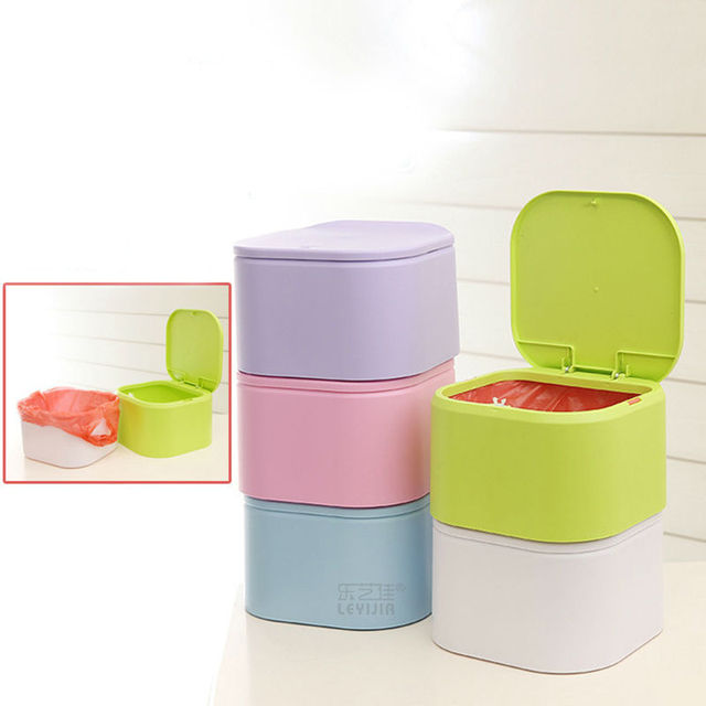 2017 Colorful Detachable Portable Plastic Dustbin Kitchen Trash Can Table Waste Bin Container Desk Organizer Kids