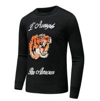 New 2017 Man Luxury Winter l'aveugle par amour embroidered Tiger Casual Sweaters pullover Asian Plug Size High Drake #E213