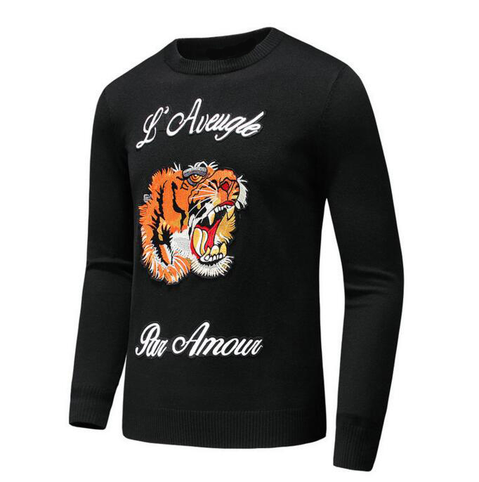 New 2019 Man Luxury Winter L'aveugle Par Amour Embroidered Tiger Casual Sweaters Pullover Asian Plug Size High Drake #E213