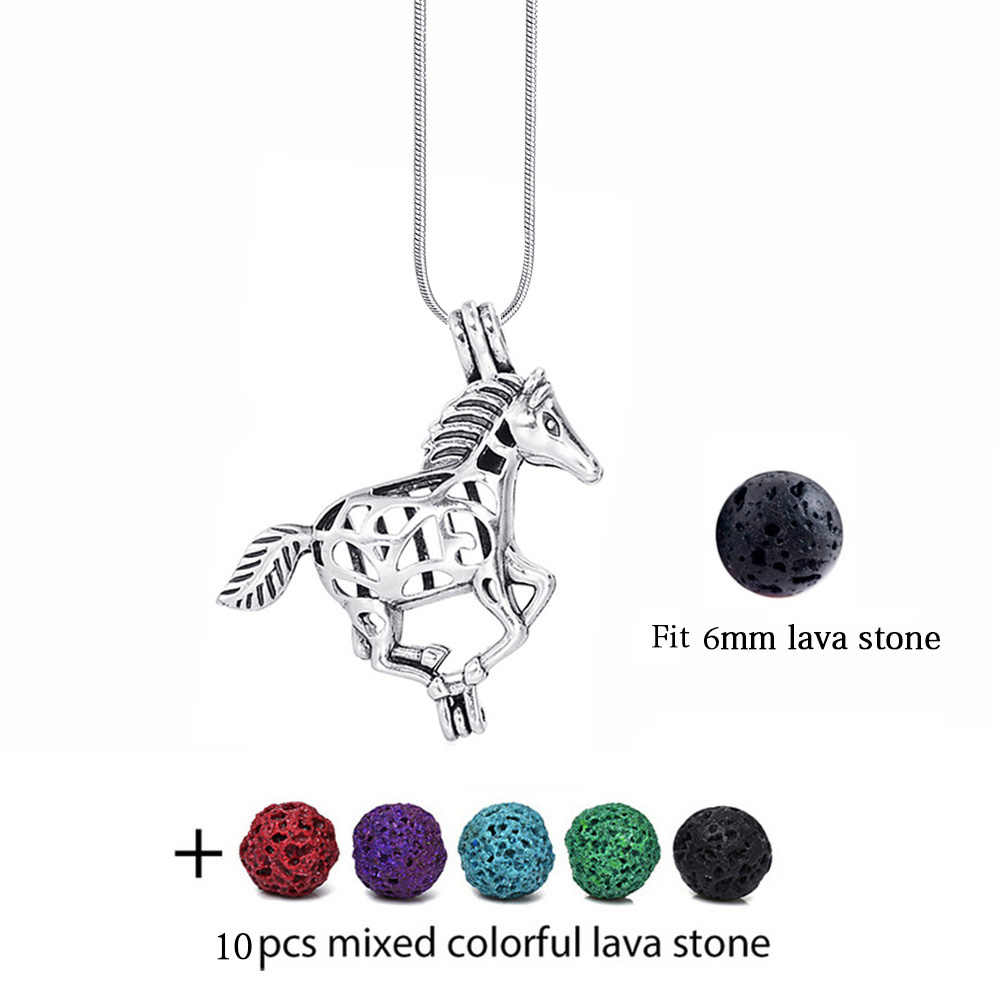 Collier en pierre de lave fleur de Lotus bricolage Cabochon perle Cage diffuseur médaillon collier Vintage huile essentielle aromathérapie collier