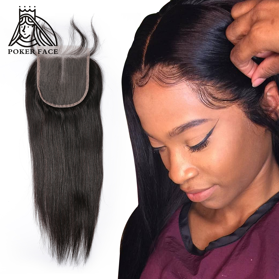 Poker Face Straight Lace Frontal Closure Remy Human Hair Indian Free Middle Weaves Three Part 8-20 Inch Front Lace