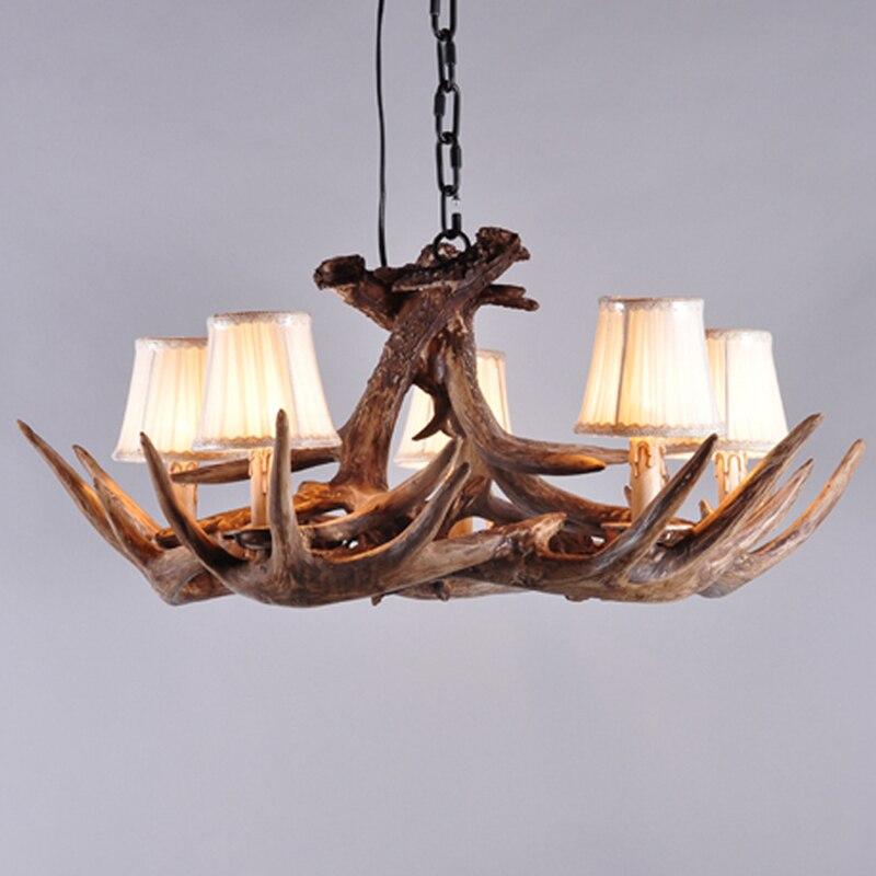 5 light deer chandelier antique antler lamps home fixture resin deer