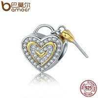 BAMOER Authentic 925 Sterling Silver Romantic True Love Key Lock Charms Fit Women Charm Bracelets Bangles