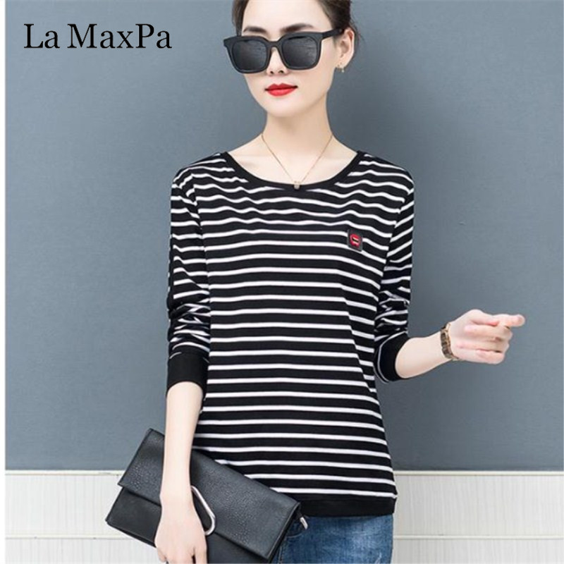 La MaxPa 2019 Spring New T-shirts For Women Classic Striped T Shirt O-neck Cotton Female 4XL Plus Size Tees 2