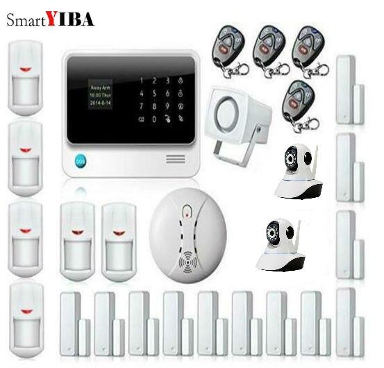 SmartYIBA WIFI Alarmas De Seguridad Para Casa Alarme Maison Allarme Casa IOS/Android APP Control IP Camera Smoke Alarm Kits