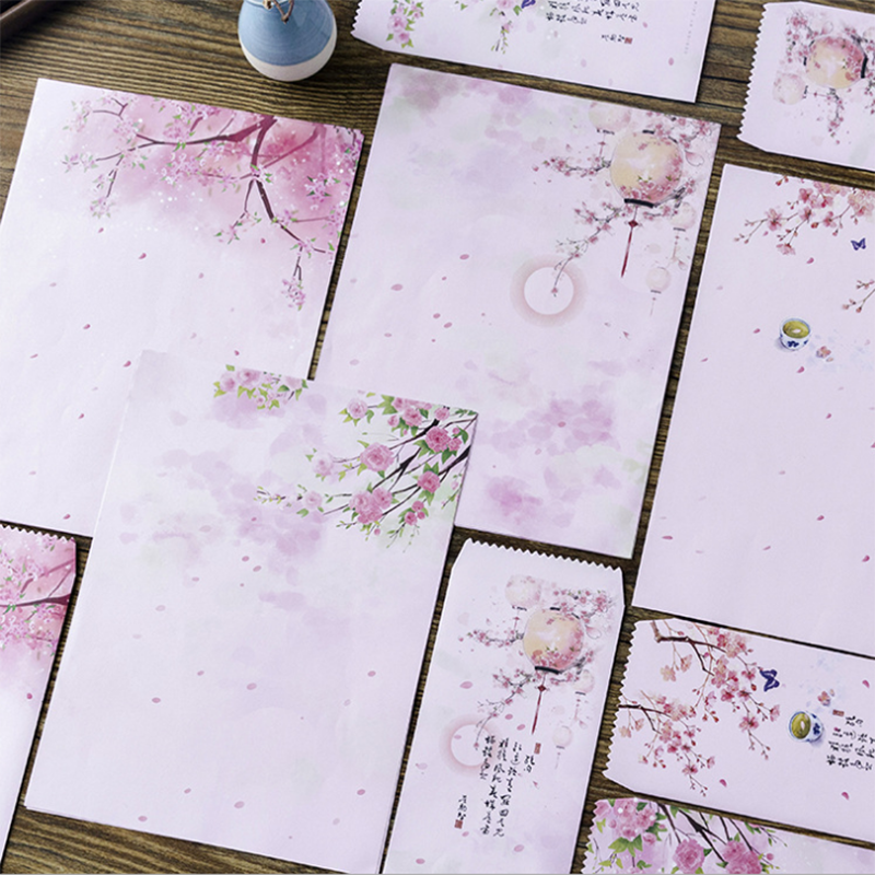 Peach Blossom Floral Letter Set Ancient Style 2 Envelope 4 Letters Letter Wedding Invitation School  Office Writing Letter Paper