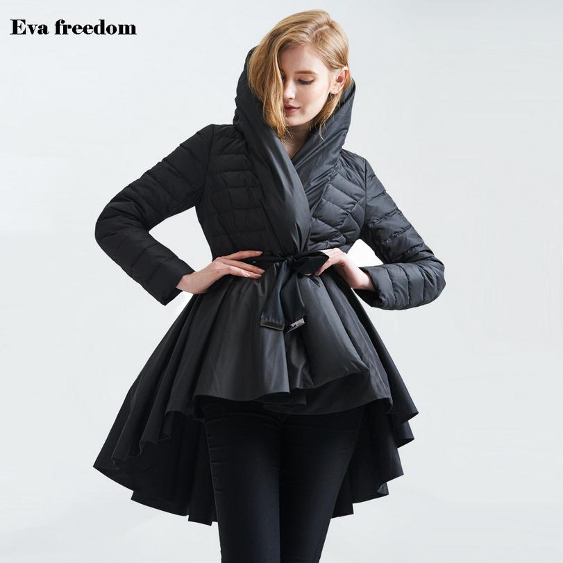 Wholesale Fashion brand 85% white duck down parkas 2018 winter Asymmetric Length with belt warm down coat wj1002 free shipping