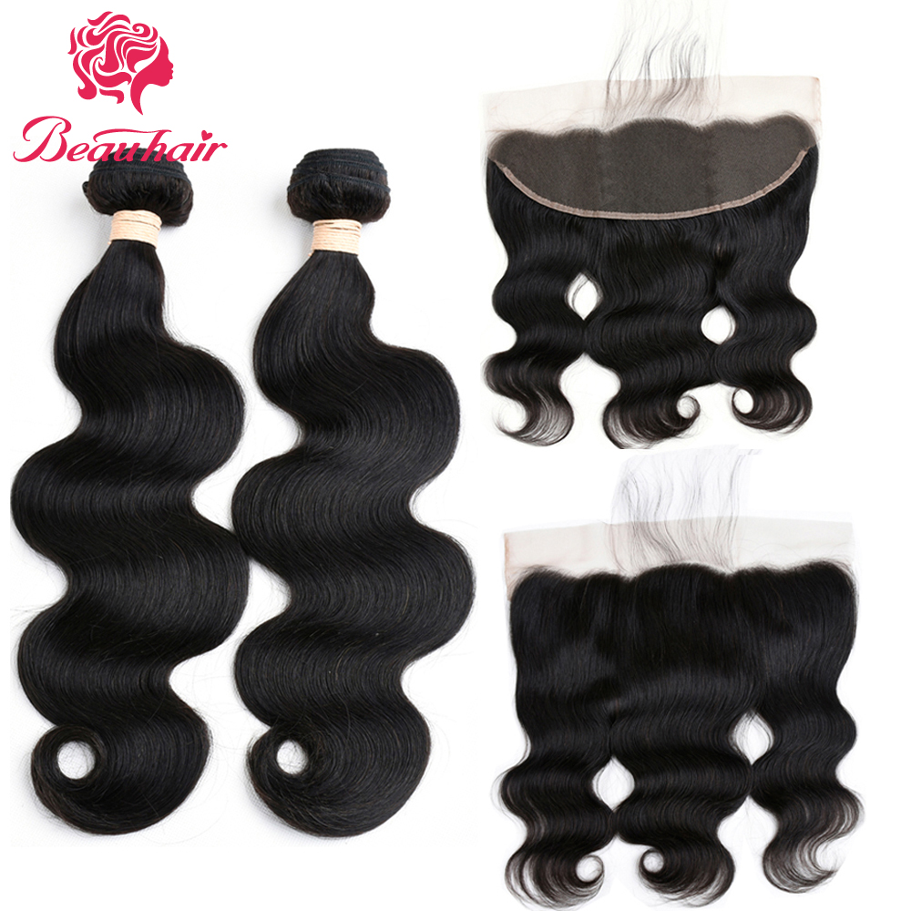 Beauhair Brazilian Body Wave Hair 2 Bundles With 13x4 Ear To Ear Lace Frontal 100% Human Hair Extensions Natural Color