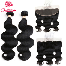 Beauhair Brazilian Body Wave Hair 2 Bundles With 13×4 Ear To Ear Lace Frontal 100% Human Hair Extensions Natural Color