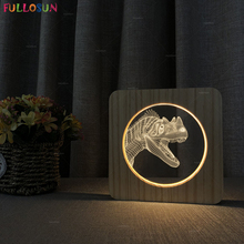 3D Illusion LED Lights USB Power Wooden Lamp Dinosaur Night Lights for Christmas Gift Room Decoration funny 3d led little racoon night lamp led usb power table lamp as kids room sleeping lights