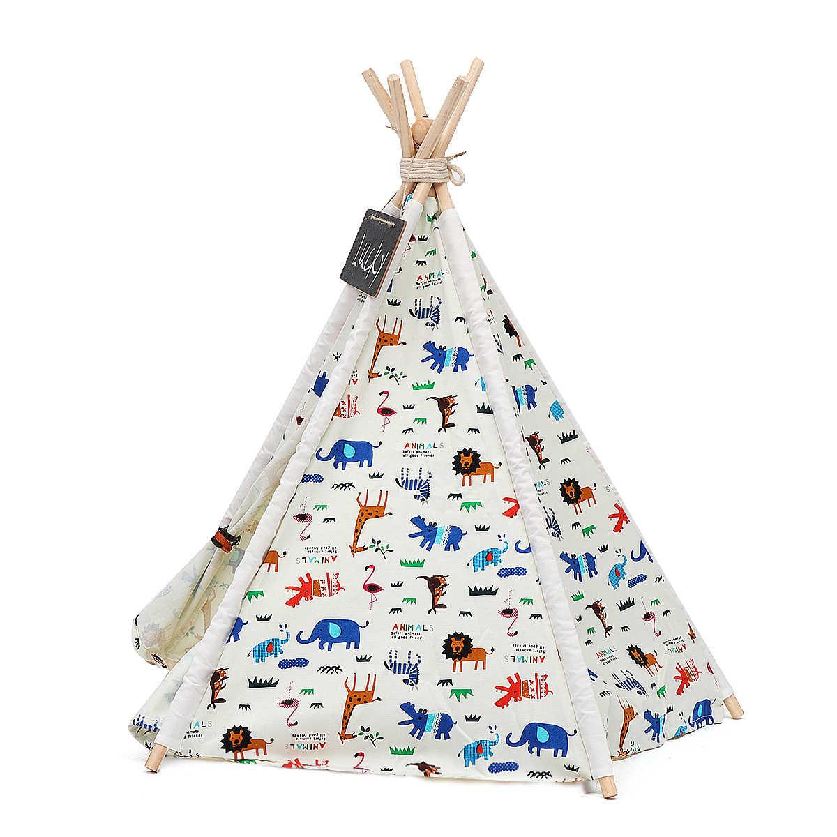 Складной Собака House питомники моющийся палатка щенок кошка кровать Крытый Открытый дома играет вигвама Типи Товары для собак Портативный S/ m/L