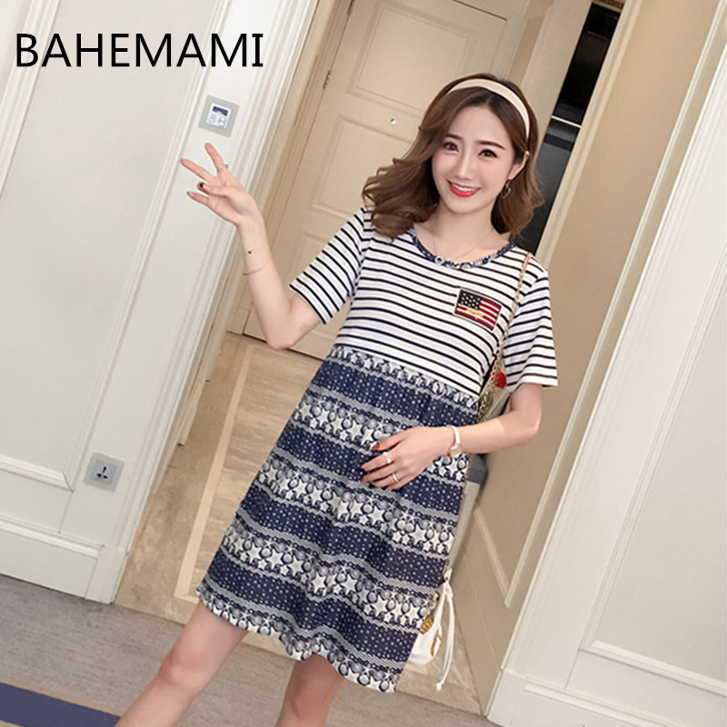 BAHAMAMI Maternity Dress Stripe Casual Loose Jeans Print Pregnant women Short sleeves Convenient Breastfeeding Maternity M-XXL