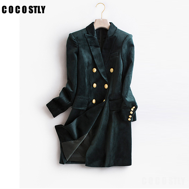 Autumn Blazer Woman Velvet Suit Slim Casual Fashion Suits Jakcet Office Lady Designs Double Breasted Blazer Long Suit Jacket