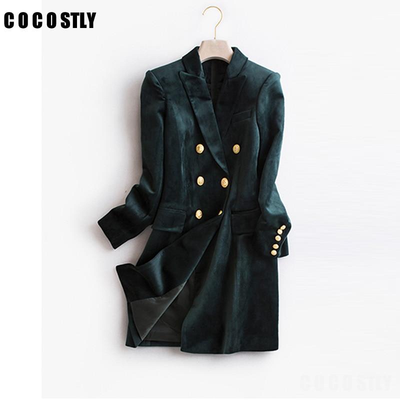 Autumn Blazer Woman Velvet Suit Slim Casual fashion Suits Jakcet office lady designs double breasted blazer long suit jacket