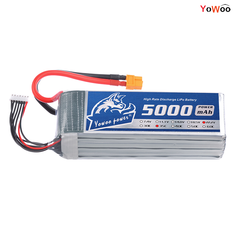 YOWOO Lipo 6S Battery 22.2V 5000mAh 35c MAX 70C RC Bateria Drone AKKU For Car Boat Airplane Helicopter UAV Quadcopter FPV yowoo fpv 450 500 akku lipo battery 2s 3s 7 4v 11 1v 5000mah 50c max 100c for traxxas helicopter fpv 450 airplane quadcopter car