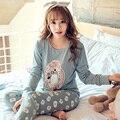 Preço BAIXO 2016 Spring & Autumn Winter Girl Pijamas de Manga Longa Para As Mulheres Encantador Dos Desenhos Animados do Roupas Sleepwear Das Mulheres Enviar óculos