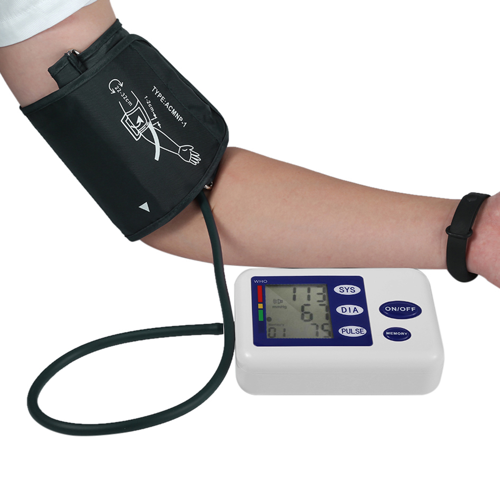 Digital Upper Arm Blood Pressure Monitor Device With Adaptor Health Care Automatic Sphygmomanometer Meter Tonometer oximeter