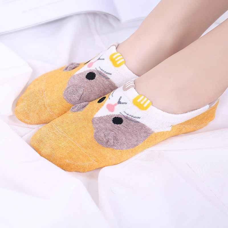 יפני נשים בנות קיץ קצרים נראים סירת גרביים חמוד Cartoon אוגר הדפסת 3D כפות אנטי להחליק סיליקון כותנה גרביים