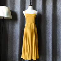 Women summer maxi dress yellow pleated chiffon bohemian long dresses Bridesmaids sleeveless backless lace up draped Korean dress