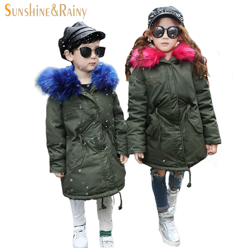 Brand Designer Girls Boys Down Coat Winter Kids Jackets & Coats Big Fur Collar Children's Thick Warm Long Down Jacket Parkas 2017 new baby girls boys winter coats jacket children down outerwear warm thick outdoor kids fur collar snow proof coat parkas