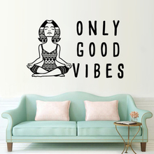 Vinyl Wall Decal Only Good Vibes Quote Sticker  Meditation Yoga Lettering Art Mural Home Decoration AY1783