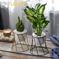 New Garden Supplies Round Flower Pot Creative Designs Gold Metal Frame Support Flower Plant Home Decorative Ceramic Nursery Pots