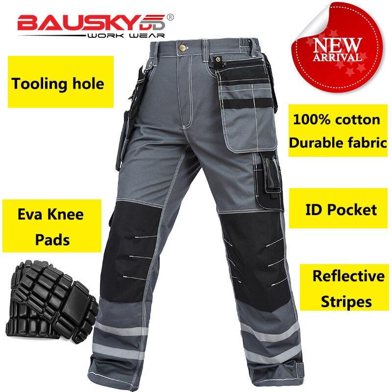 Bauskydd Mens carperner 100 cotton grey reflective work trousers with eva knee pads work pants men