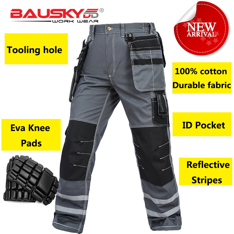 Bauskydd Mens carperner 100% cotton grey reflective work trousers with eva  knee pads work pants men free shippingBauskydd Mens carperner 100% cotton grey reflective work trousers with eva  knee pads work pants men free shipping