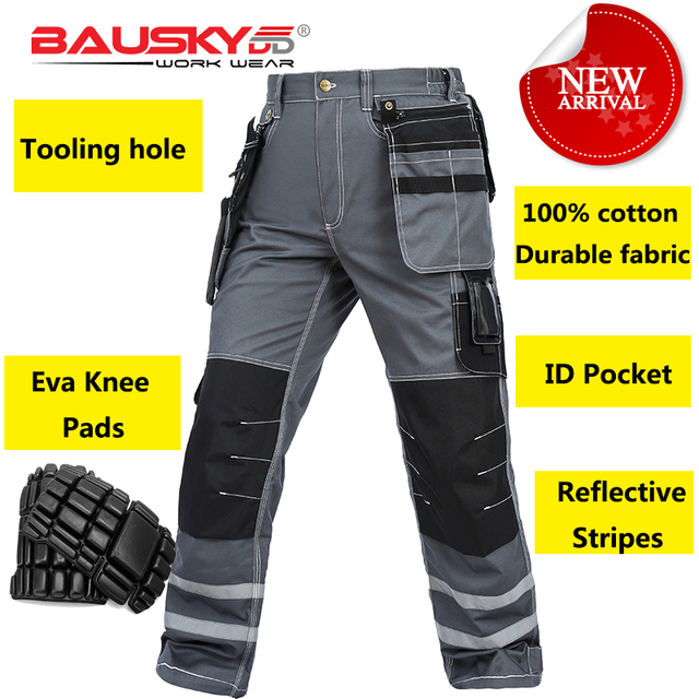 Bauskydd Mens carperner 100% cotton grey reflective work trousers with eva  knee pads work pants men free shipping