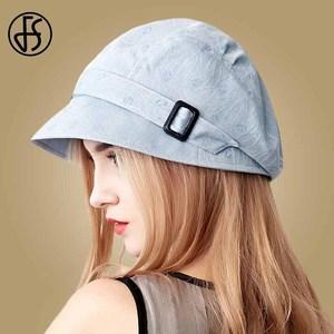 Image 2 - FS Fashion Cotton Sun Hat For Women Summer Outdoor Foldable Beach Hats Blue Pink Dark Gray Wide Brim Casual Visor Caps Femme